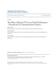 The Effect of Private IT Use on Work Performance - Towards an IT consumerization Theory