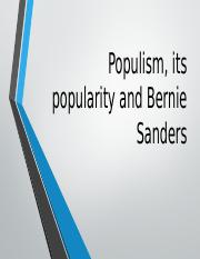 Populism, its popularity and Bernie Sanders