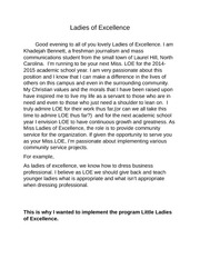 Ladies of Excellence SPEECH note