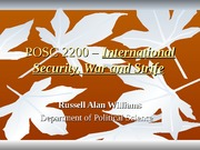 POSC 2200 - Managing Insecurity(III)