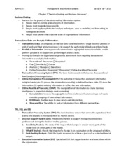 ADM 2372 - Chapter 2 Notes - Decision Making and Busines Processes.docx
