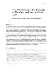 3 破坏巴米扬佛教与国际法 Francesco Francioni and Federico Lenzerini, The Destruction of the Buddhas of Bamiyan