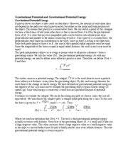 Gravitational Potential and Gravitational Potential Energy