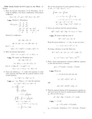 Study Guide 2 Solution Spring 2008 on Differential Equations with Linear Algebra 1