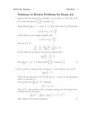 Exam 2 Review Problem Set  Solution Fall 2012 on Introduction to Analysis