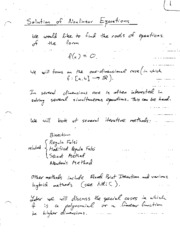 Solving Nonlinear Equations Notes