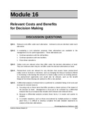ACG 6315 HW Module 16 Answer Key Relevant Costs and Benefits
