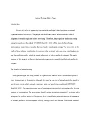 Animal Testing Ethics Paper