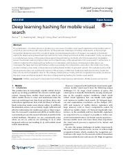 Deep learning hashing for mobile visual