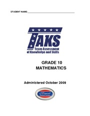10th Grade Mathematics TAKS Practice Test 1