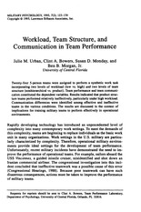 Urban-1995-Workload Team Structure and Communication in Team Performance