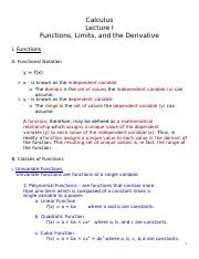 Lecture I - Functions- Limits-Derivs