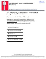 The contribution of corporate social responsibility to organizational commitment