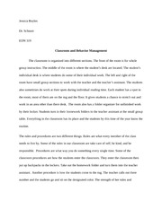 Field Experience -Classroom and Behavior Management Essay