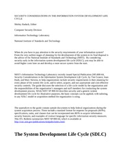SDLC FOR  INFORMATION SYSTEM DEVELOPMENT LIFE CYCLE