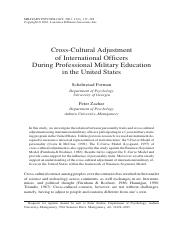 Cross-Cultural Adjustment