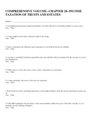 answers COMPREHENSIVE VOLUME--CHAPTER 28--INCOME TAXATION OF TRUSTS AND ESTATES