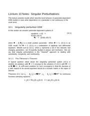 Lecture 10 Notes Perturbations