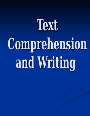 16 Text comprehension and writing