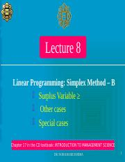 LECTURE 8 - LINEAR PROGRAMMING_Simplex Method (B)