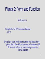 Lecture 17 - Plant Form and Function