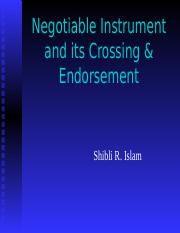 NI Instrument and Cheque crossing, Endorsement