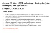 Lecture 40 and 41 DNA technology