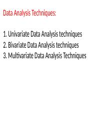 Data Analysis techniques (MBA and EMBA) March 22, 2017