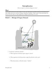 Eutrophication POGIL - Euuophicaon 2 Indicate whether the ...