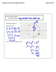 equations of circles and ellipses notes