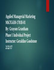 Applied Managerial Marketing PH 1 IP