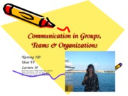 lecture 14- communcation in groups, teams and org.