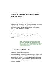 THE REACTION BETWEEN METHANE AND BROMINE