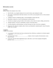 reformation worksheet
