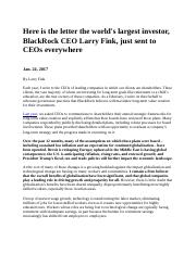 Larry Fink Letter   Here is the letter the world's largest