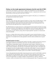 2015-02-03 Policy on the trade agreement between the EU and US (1).pdf
