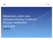 13.1 Fasted state CHO metabolism