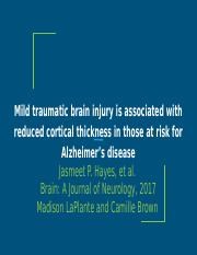 Mild traumatic brain injury is associated with reduced cortical thickness in those at risk for Alzhe