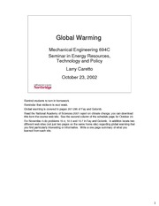 Lecture on Global Warming