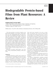 Biodegradable Protein-based films from plant resources