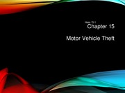 Chapter 15 - Motor Vehicle Theft