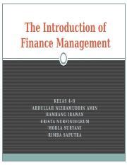 The Introduction of Finance Management (1)