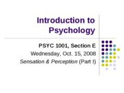 Lecture 7. Sensation and Perception (Part I posted)