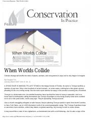 FW325 Week2 READING REPORT 2 Worlds Collide