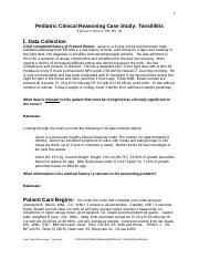 case study 1 doc - 1 Pediatric Clinical Reasoning Case Study