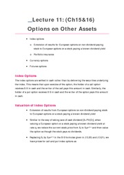 Lecture 11 Options on Other Assets