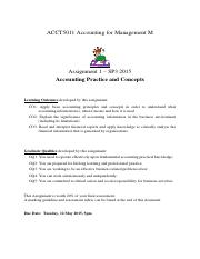 ACCT5011 Assignment 1- SP3 2015