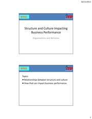 OB 08 Culture-Structure and Business Performance