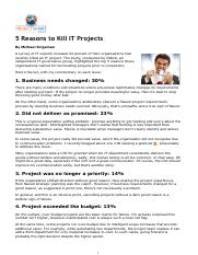 2. 5 Reasons to Kill IT Projects