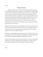 Bilingualism essay